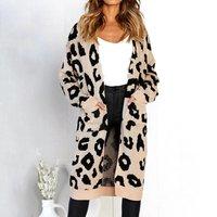 Women Stylish Leopard Knit Cardigan
