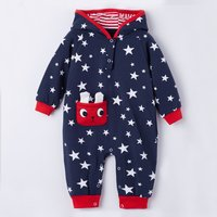 Stars Print Rabbit Ears Hooded Jumpsuit