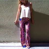 Casual Flower Print Loose Pants with Elasticized Waist Design For women