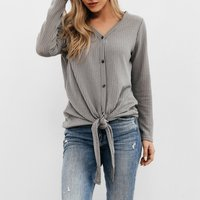 Sassy Long-sleeve V-neck Thin Solid T-shirt Top with Tie For women