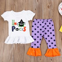 Funny Ruffle-Hem Short-sleeve White Top and Polka Dot Pants Halloween Outfits for Toddler Girls
