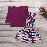 Burgundy Top and Striped Floral Suspender Dress Set