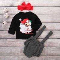 Chic Santa Print Christmas Outfit