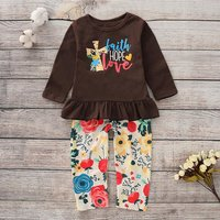 Ruffle-Hem Top and Floral Pants Set