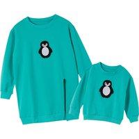 Penguin Pattern Cotton Matching Loose Sweatshirt