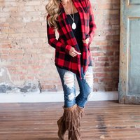 Classic Black and Red Plaid Cardigan