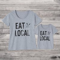 EAT Letter Print Matching T-shirt
