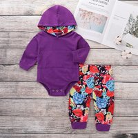 Hooded Romper and Floral Pants Outfit