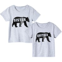 Sister and Brother Bear Letter Print Matching Tee