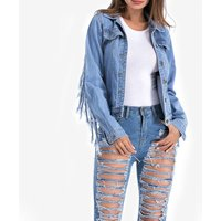 Trendy Women's Fringe Denim Jacket