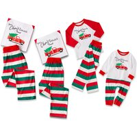 Chic Christmas Letters Print Long-sleeve Top and Striped Pants Lounge Set for Family Matching