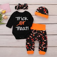 4 Pcs Trick or Treat Candy Printed Outfit