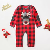 Deer Applique Checkered Jumpsuit