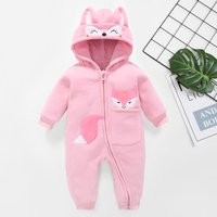Thick Fox Embroidery Hoodie Jumpsuit
