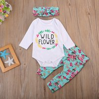Wild Flower Romper Pants with Bow Headband