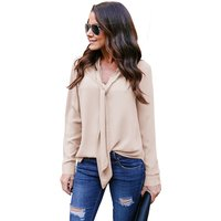 Fashion Chic V-neck Blouse Women Solid Long Sleeve Top
