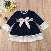 (Only 2 Left for 2-3Y)Lace Trim Princess Dress with Bow