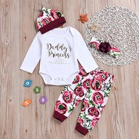 4-piece Daddy's Princess Rose Print Outfit
