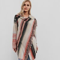 Trendy Autumn Long-sleeve Shawl Outerwear with Tassel For women