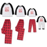 Trendy Reindeer Letters Print Long-sleeve Plaid Lounge Set for Family Matching