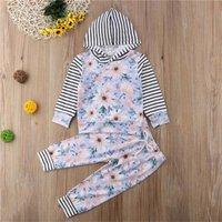 2 Pcs Striped Floral Outfit