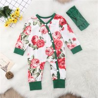 Rose Print Jumpsuit with Bow Headband