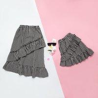 Irregular Hypotenuse Plaid Matching Skirt