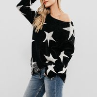 Round Neck And Loose Star Sweater