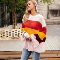 Oversize Colored Striped Sweater For women