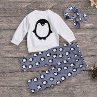 3 Pcs Penguin Print Long Sleeve Set