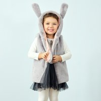 Adorable Rabbit Sleeveless Fleece Coat