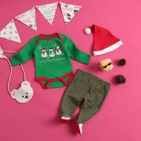 (Only 1 Left for 0-3M)Snowman Romper Striped Set
