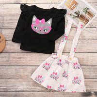 Pretty Ruffle Long Sleeve Cat Print Black Top and Patterned Suspender Dress Fall Outfits