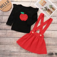 Apple Applique Top and Polka Dot Skirt Set