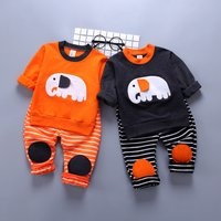 2-piece Elephant Applique Striped Set