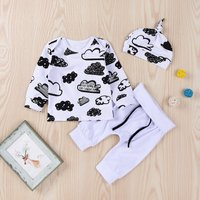 3-piece Cloud Print Set in White