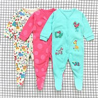 3 Pcs Bright Animal Embroidered Polka Dots Long Sleeve Footie Jumpsuits for Winter
