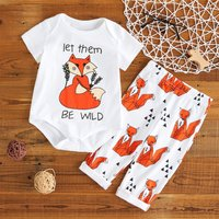 'let them BE WILD' Fox Print Short-sleeve Romper and Pants Set