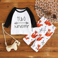 'Two Handsome' Arrow Print Long-sleeve Top and Fox Pattern Pants Set for Baby