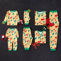 Yellow Christmas Reindeer Family Matching Pajamas