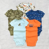 5 Pcs Allover Print Short Sleeve Rompers Set