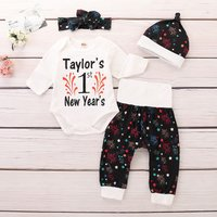 4 Pcs 1st New Year Fireworks Print Set for New Year
