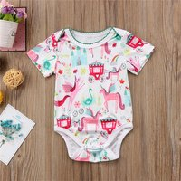 Castle Unicorn Romper in Pink