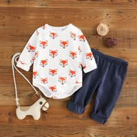 Cute Fox Print Long-sleeve Bodysuit and Pants Set for Baby