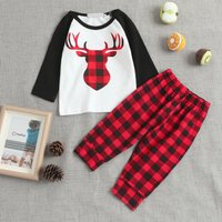 2-piece Red Black Checkered Deer Set