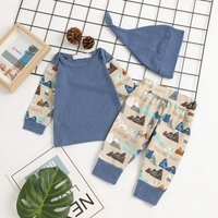Daily Printed Top Pants and Hat Set