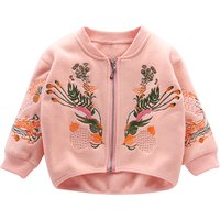 Embroidered Fleece Zip Front Bomber Jacket