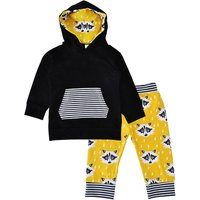 Front Pocket Hoodie and Fox Pants Set