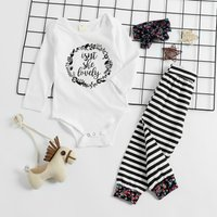 3-piece Comfy Cotton Letter Print Autumn Baby Set