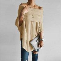 Solid Off Shoulder Irregular Cuff Design Tee Top For women